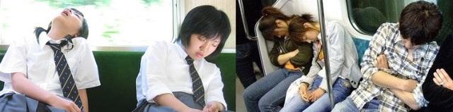 dormir dans le métro au Japon